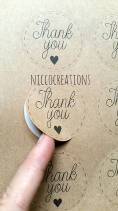12 Kraft Labels   Thank you stickers   Packaging labels   Envelope seal by Niccocreations on Etsy