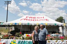 Scott and Esther McIlrath sell locally grown fruit and vegetables at the McIlrath Farm Market in the Yakima Valley, Washington.