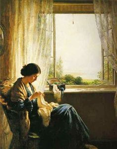 """Woman sewing by the window"", by William Kay Blacklock (English, 1872-1922)"