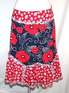 Anthropologie Odille Red White and Navy Cotton Poppy Floral Print Skirt