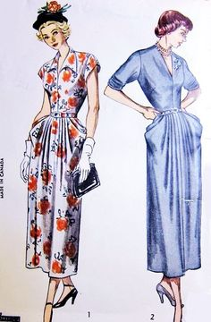 1940s STYLISH Day or Evening Dress Pattern SIMPLICITY 2876 V Neckline Draped Pockets Dinner Cocktail Dress Bust 34 Vintage Sewing Pattern FACTORY FOLDED