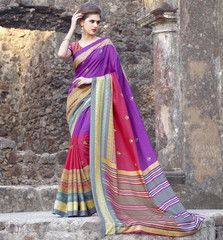 Red & Purple Color Bhagalpuri Casual Party Wear Sarees : Rutuja Collection  YF-38078
