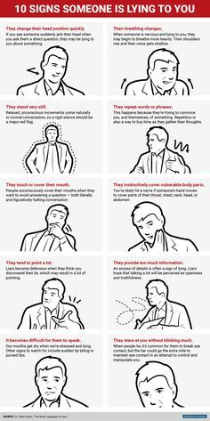 10 signs someone is lying to you They Tend To: 1. Point A Lot. and 2. Repeat Words and Phrases . . . .