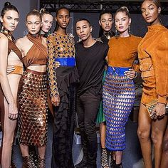 #OlivierRousteing's #BalmainArmy is back for #SS16! Continuing the brand's prowess for powerful silhouettes the #designer showcased seductive see-through maxis, skinny high-waisted pants and cage-detail pencil skirts. #PFW #regram artefakt