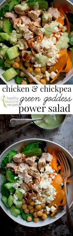Gluten-free and protein packed entree salad with garlic marinated chicken, chickpeas, feta cheese and home-made Green Goddess salad dressing.