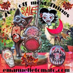 Sale started today at emanuelletomato.com 👻 includes a few original pieces + lots of pins and coffins