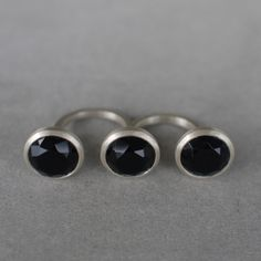 Liê - Black Rocks Collection - silver and black quartz