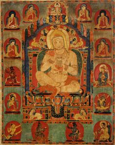 Portrait of Jnanatapa surrounded by lamas and mahasiddhas, ca. 1350, Tibet, Riwoche Monastery, Distemper on cloth.