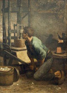 "Constantin Meunier: ""Man at the Press"",  oil on canvas, Current location: Meunier Museum, Brussels"