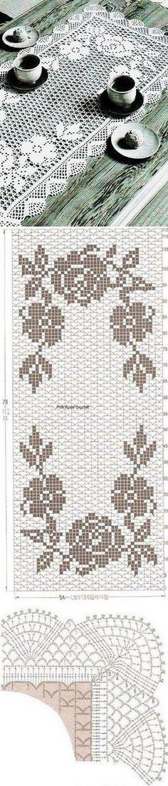 Belíssimo tapete de crochê, modelo 3D, Maravilhoso! Segue aqui o gráfico.
