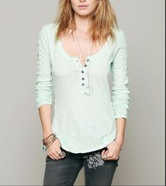 $98 New Free People Shell Stitch Lace Henley Green Blouse Tunic Top Medium M…