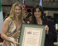 Steffi Graf (L) and Gabriela Sabatini (R) during the 2006 International Tennis Hall of Fame Induction on Saturday, July 15, 2006 in Newport, Rhode Island. This year's inductees include Patrick Rafter of Australia, Gabriela Sabatini of Argentina and Italian Journalist Gianni Clerici.