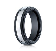 This awesome 7mm comfort-fit Tungsten band features a high-polished finish with round ceramic edges.