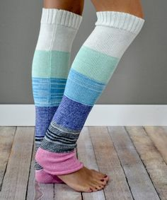This Blue & Pink Color Block Button-Accent Leg Warmers is perfect! #zulilyfinds