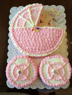 Baby buggy baby shower cake. 12 in round and two 6 in round cakes.