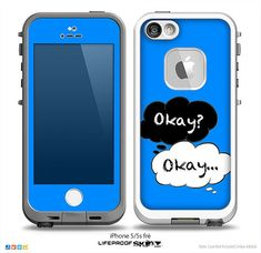 The Okay? Okay... Speech Bubbles on Blue Skin for the iPhone 4/4s, 5/5s or 5c LifeProof Case on Etsy, $9.99