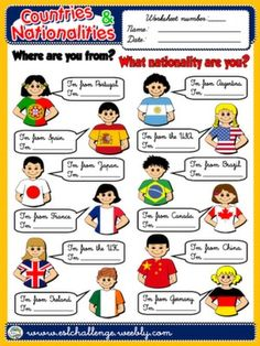 #COUNTRIES AND NATIONALITIES - WORKSHEET 7