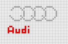 Audi Logo Pixel Art - Cars and motor Pixel Art Logo, Image Pixel Art, Allroad Audi, Audi Cars, C2c, Car Photography, 8 Bit, Super Cars, Cross Stitch