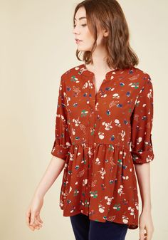 Creative Career Conference Top in Ginger Garden, #ModCloth