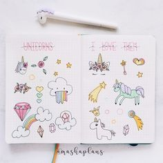 Masha ( wonderful unicorn doodles I used in my Bullet Journal this August Bullet Journal Kawaii, Bullet Journal Mood, Bullet Journal Ideas Pages, Bullet Journal Spread, Bullet Journal Inspiration, Doodle Art Journals, Drawing Journal, Simple Doodles, Cute Doodles