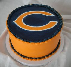 Chicago Bears Simple Bears cake for my grandpa's birthday. round, all BC. I was pleased that the blue darkened over night, but. Grandpa Birthday, 30th Birthday, Birthday Ideas, Birthday Cake, Birthday Wishes, Birthday Parties, Chicago Bears Cake, Starbucks, Bear Wedding