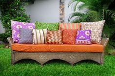 African Prints Eclectic Furniture, Outdoor Furniture, Outdoor Decor, Safari Home Decor, Africa Decor, Family Glamping, African Home Decor, Inspired Homes, Love Seat