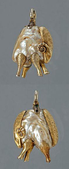 the Order of the Golden Fleece badge, 1628, Austria, silver; diamond; emerald; pearl, height: 3 cm, width: 2cm