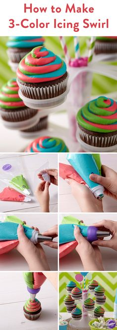 Color Swirl Coupler - Looking for fun cupcake decorating ideas? Use the Wilton Color Swirl coupler to combine up to 3 colors! The coupler fits 2 or 3 icing bags together so you can easily pipe flawless multi-color icing swirls. Make tie dye frosting Frost Cupcakes, Cupcakes Arc-en-ciel, Cupcakes Lindos, Rainbow Cupcakes, Cake Cookies, Cookies Et Biscuits, Tie Dye Cupcakes, Rainbow Frosting, Easter Cupcakes