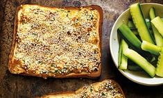Grilled sesame prawn toast, served with pickled cucumbers, from Homemade Takeaways by Rob Allison.