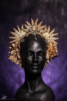 Gold tribal headdress  headpiece, tribal fusion, crown, costume, handmade, fantasy