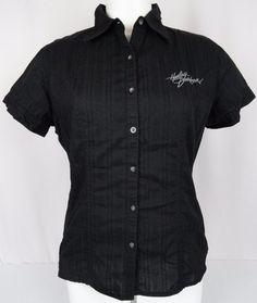Harley-Davidson Women's Black Blouse Double Corset Back Logo Embroidered Large #HarleyDavidson #CollarBlouse