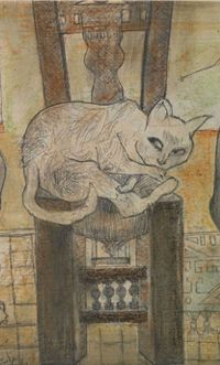 By Hamed Nada (1924-1990), 1989, Fortune-Teller and the Cat , pencil and pastel on board. (detail)