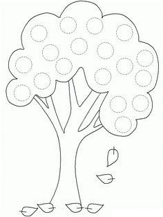 Autumn Tree tracing worksheet - Circles