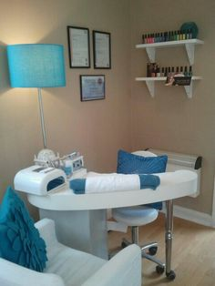 I love this clean fresh look in blue. | Nail Technician Room Ideas | nail room decor | home nail salon decorating ideas