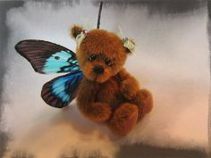 Facebook page MadebyAnna  Miniature 3 inch hand sewn butterfly bear