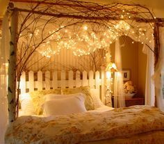 How to Create A Romantic Retreat in your Bedroom Create a country getaway bedroom with branches and twinkle lights.