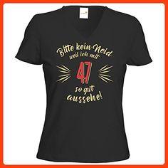 getshirts - RAHMENLOS® Geschenke - T-Shirt Damen V-Neck - Geburtstag 47 - Bitte kein Neid - beige - schwarz M