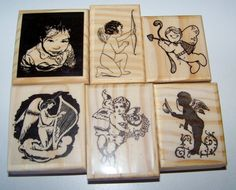 Lot of 6 New Mounted Rubber Stamps - ANGELS BABIES, Valentines Day CUPIDS #etsy #abracadabrastamps