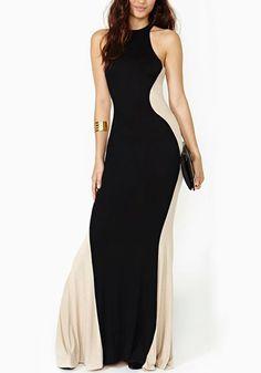 Black Color Block Fishtail Halter Round Neck Sleeveless Dress