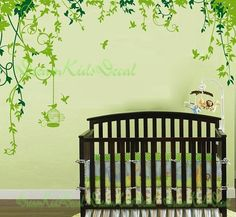 Nursery decal Vinyl Wall Decal Nature Design Tree Wall Decals Chrildren's wall decals Wallstickers Vines Wall Decals with flying birds-DK084...