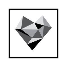 Image of Geo heart grey