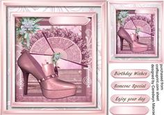 Lovely Pink shoe and Fan  on Craftsuprint designed by Ceredwyn Macrae - A lovely card to make and give to anyone with a lovely Pink shoe and Fan has tree greeting tags and a blank one  - Now available for download!
