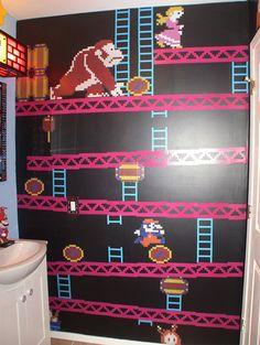 A Mario, Donkey king & Pac Man Themed Bathroom