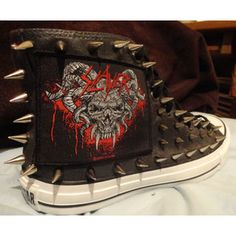SLAYER Heavy Metal Punk Rock Custom Studded Converse Chuck Taylor All Star  Sneakers Shoes with Spikes not shirt Men s Women s Kids 64716e8c4c4