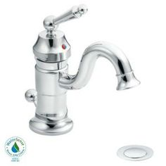 MOEN Waterhill Single Hole 1-Handle Low-Arc $214 Bathroom Faucet in Chrome-S411 at The Home Depot  low arc would be difficult to wash hair.