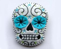 Sugar Skull Jewelry Day of the Dead Brooch