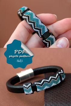 Peyote pattern for Leather bracelet Beading tutorial Regaliz pattern Beading Techniques, Beading Tutorials, Peyote Patterns, Beading Patterns, Jewelry Patterns, Bracelet Patterns, Bead Loom Bracelets, Peyote Beading, Leather