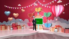 The Valentine's Day Virtual Set is designed with the amusement park concept. The Ferris wheel with gifts and heart-shaped hot air balloons is suitable for Valentine's Day celebration, e Virtual Studio, Hot Air Balloon, Heart Shapes, Balloons, Valentines, Entertainment, Concept, Decoration, Day