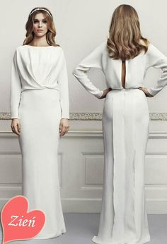 Dresses, Pleated Dresses  Long Sleeve Gown Keyhole Back: Zień Wedding Dresses 2013 collection