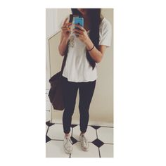 Basic white tee shirt, black pants and converse
